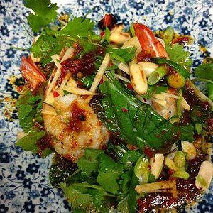 Grilled Banana prawns with chilli caramel