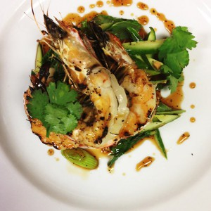 Fish & Co's Grilled banana prawns with chilli caramel dressing