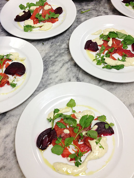 Fish & Co MSC certified wild caught Alaskan salmon cured with beetroot Watercress and horseradish dressing